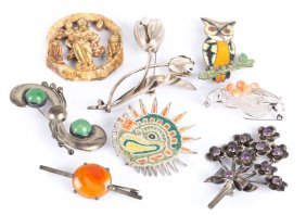 Seven Mexican Silver Brooches