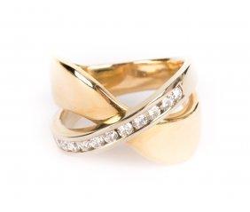 A Lady's Wide Gold Diamond Band