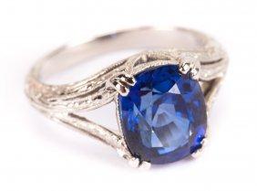 A Platinum 4.35ct Sapphire & Diamond Ring