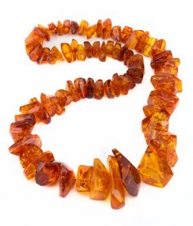 A Long Amber Beaded Necklace