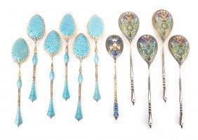 6 David Anderson Enamel Spoons