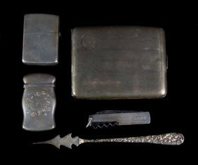 2 American Sterling Smoking Items & Pocket Knife