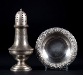 "Kirk ""repousse"" Sterling Bowl & Gorham Muffineer"