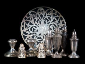 Group Of Weighted Sterling Silver Table Items