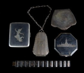 American/continental Lady's Silver Personal Items