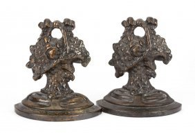 Pair Of Cast Bronze Floral Basket Bookends