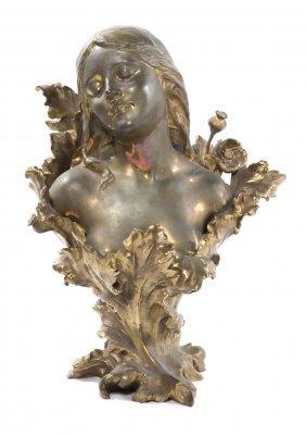 Henri Godet. Femme Fleur Bronze Bust