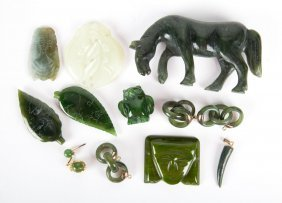 Assorted Chinese Carved Figures And Jewelry