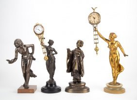 Four Spelter Clock Figures And Parts