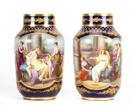 Pair Of Dresden Porcelain Painted Urns