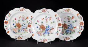 Three Chinese Export Famille Rose Plates
