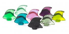 Eight Lalique Colored Crystal Angel Fish
