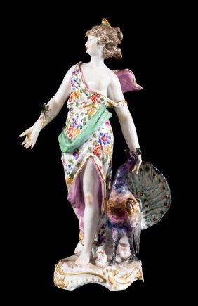 Sitzendorf Porcelain Figure Of Hera And Peacock
