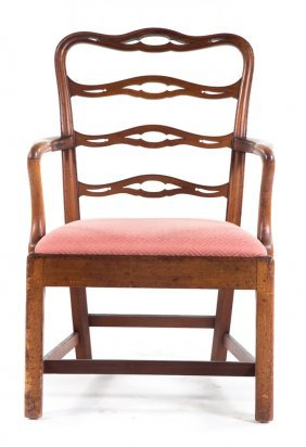 American Chippendale Walnut Ladder-back Arm Chair