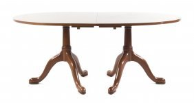 Queen Anne Style Mahogany Dining Table