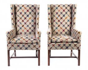 Pr. Contemporary Upholstered Mahogany Wing Chairs