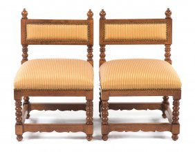 Pair Of Henri Ii Style Upholstered Slipper Chairs