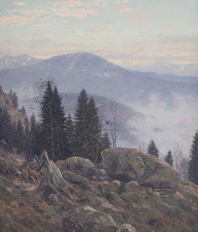 Christian Haug. Mountain Landscape, Oil On Canvas