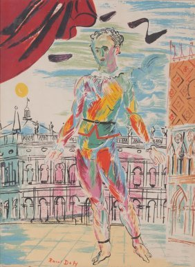 """Raoul Dufy. """"harlequin Venitienne,"""" Lithograph"""