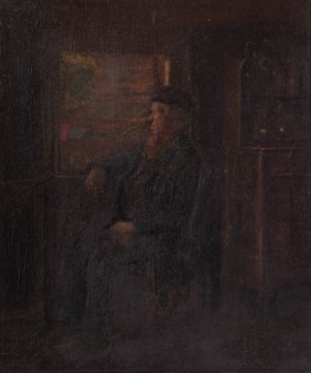 Saul Bernstein. Portrait Of Old Man At Window, Oil