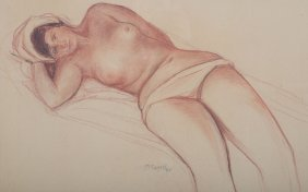 Moses Soyer. Reclining Nude Woman, Drawing