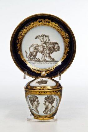 Portr�t - Deckeltasse Mit Untertasse ''M. Antonius