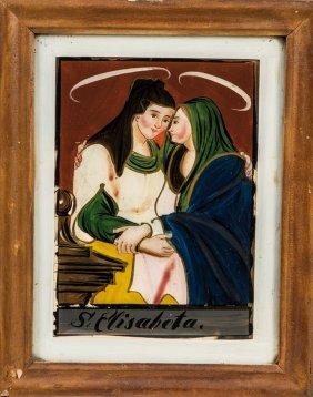 Hinterglasbild Mit Maria Und Elisabeth
