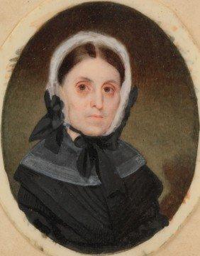 John Dodge Miniature Portrait,  Wife Of Governor