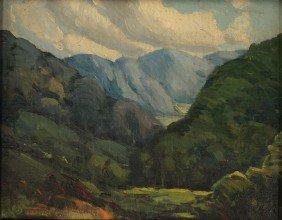 Louis Jones Oil On Board, Mountain Landscape