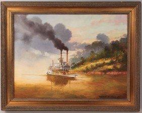 Robert Rucker Oil On Canvas, Steamboat At Sunset