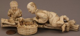 Ivory Okimono Figure, Boy And Father With Frogs