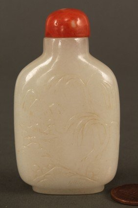 Carved White Jade Snuff Bottle, Qing Dynasty