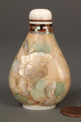 Mother Of Pearl Abalone Snuff Bottle, Signed