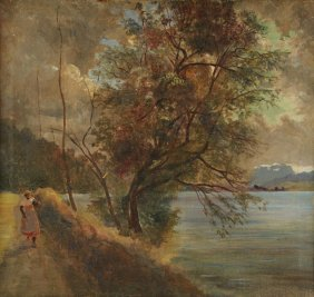 Southern School, Landscape With African American Figure