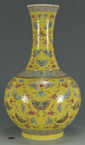 Chinese Yellow-Ground Porcelain Bottle Vase, 100 Bu
