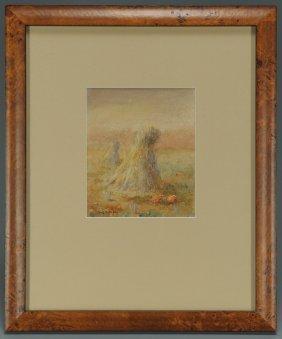 Leon A. Makielski, Haystacks With Pumpkins