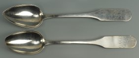 Two Nashville Coin Silver Spoons, E. Raworth