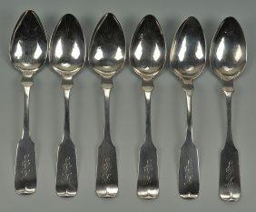 Six Nashville Coin Silver Spoons, Gates & Pohlman