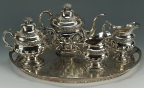 New York Coin Silver Tea Service Plus Tray And Cre