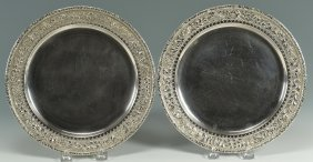 Pair Of Tiffany Sterling Plates Or Chargers