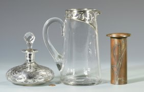 2 Silver Overlay Glass Items + 1 Other