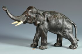 Japanese Bronze Elephant, Marked