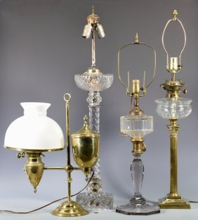 4 19th Cent. American Oil Lamps