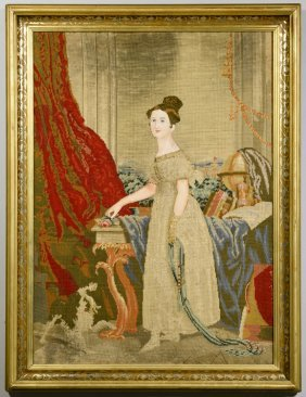 English Victorian Needlepoint Portrait