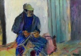 Edmond Pielmann Oil On Canvas, Fisherman