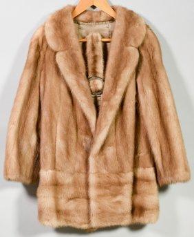 Mink Fur Short Jacket With Belt, Honey Color
