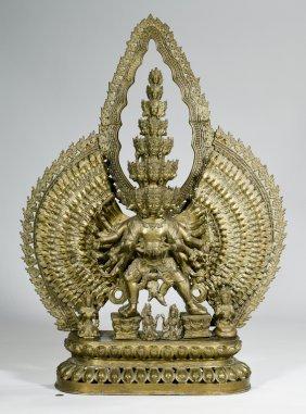 """Bronze 43"""" Tibetan Avalokitesvara Sculpture"""