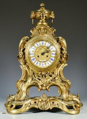Louis XV Style Gilt Bronze Mantel Clock