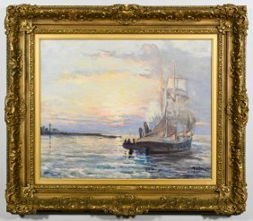 French Oil on Canvas Seascape , M. Colat