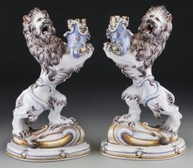 Pair Emille Galle Faience Candle Holders